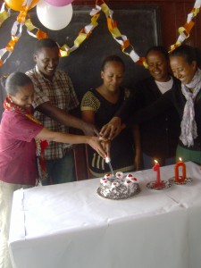 Opening ceremony 10th anniversary  (June 2,2014), from left: Lilyana Ahmed (Family Department), Yonas Mindaye (Sport Department), Elsabeth Sisay (Nutrition Department) and  Sr. Aelefech Nigussie