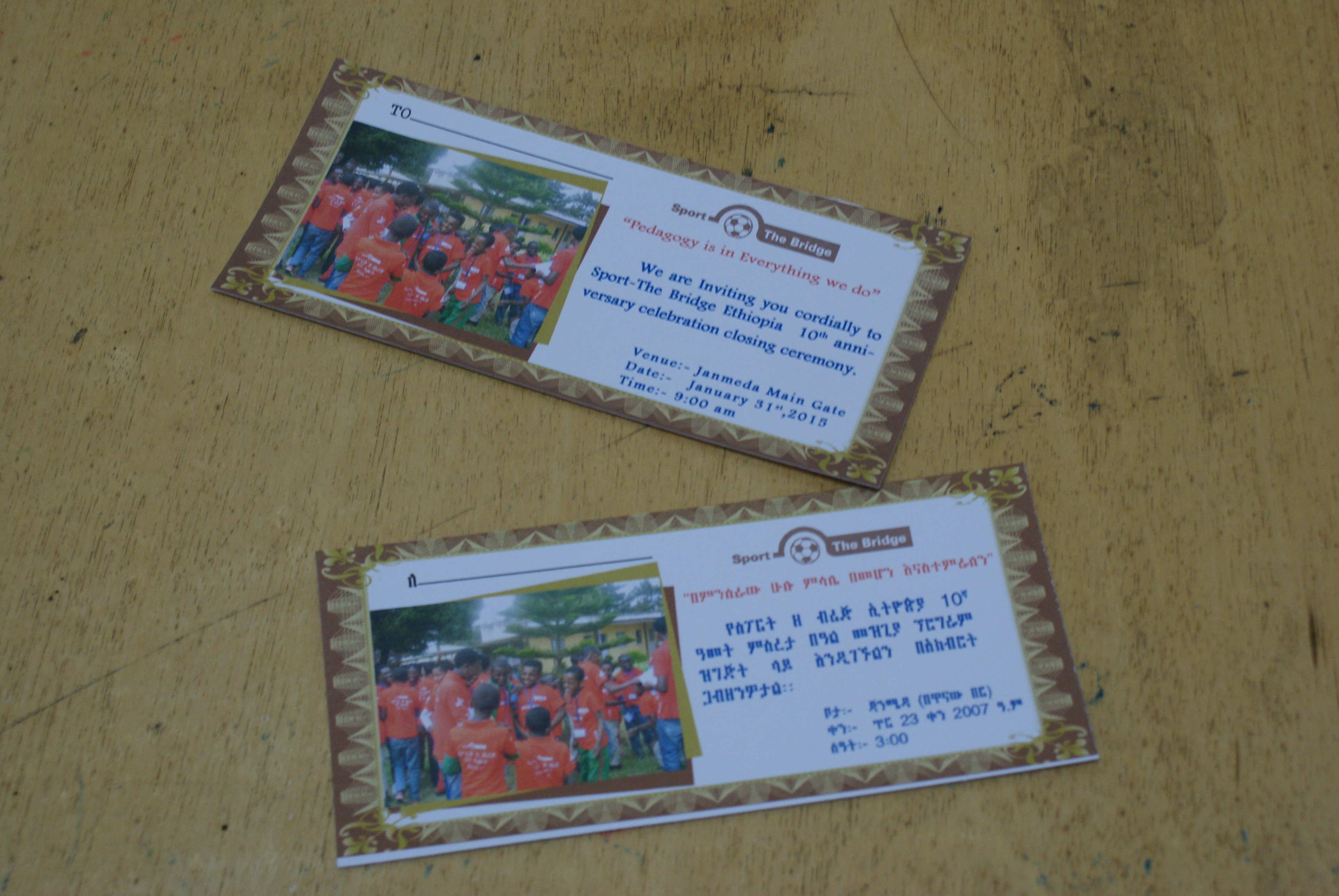 """Invitation cards with the slogan: """"Pedagogy is in Everything we do"""""""